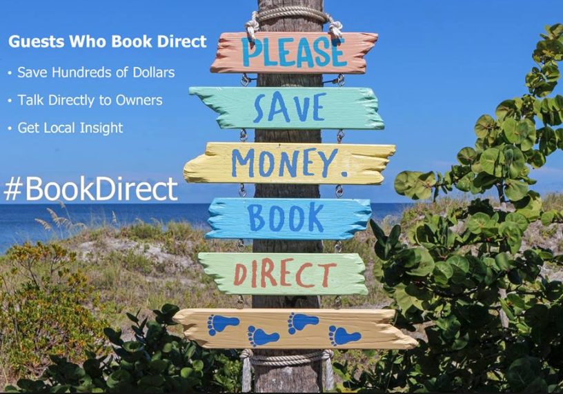 Image of beach sign encouraging #BookDirect