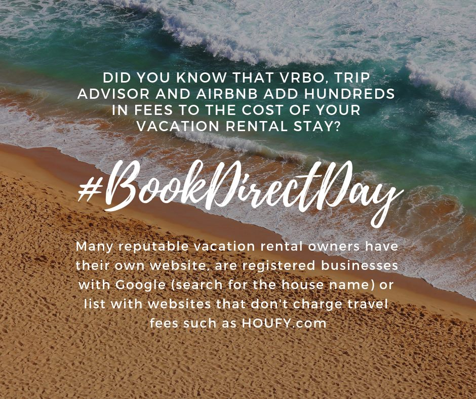 Image of sandy beach with #BookDirectDay hashtag and text