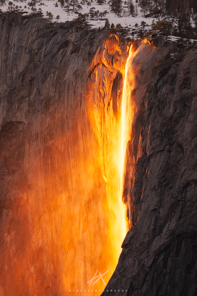 Photo of Horsetail Fall glowing orange in a February sunset