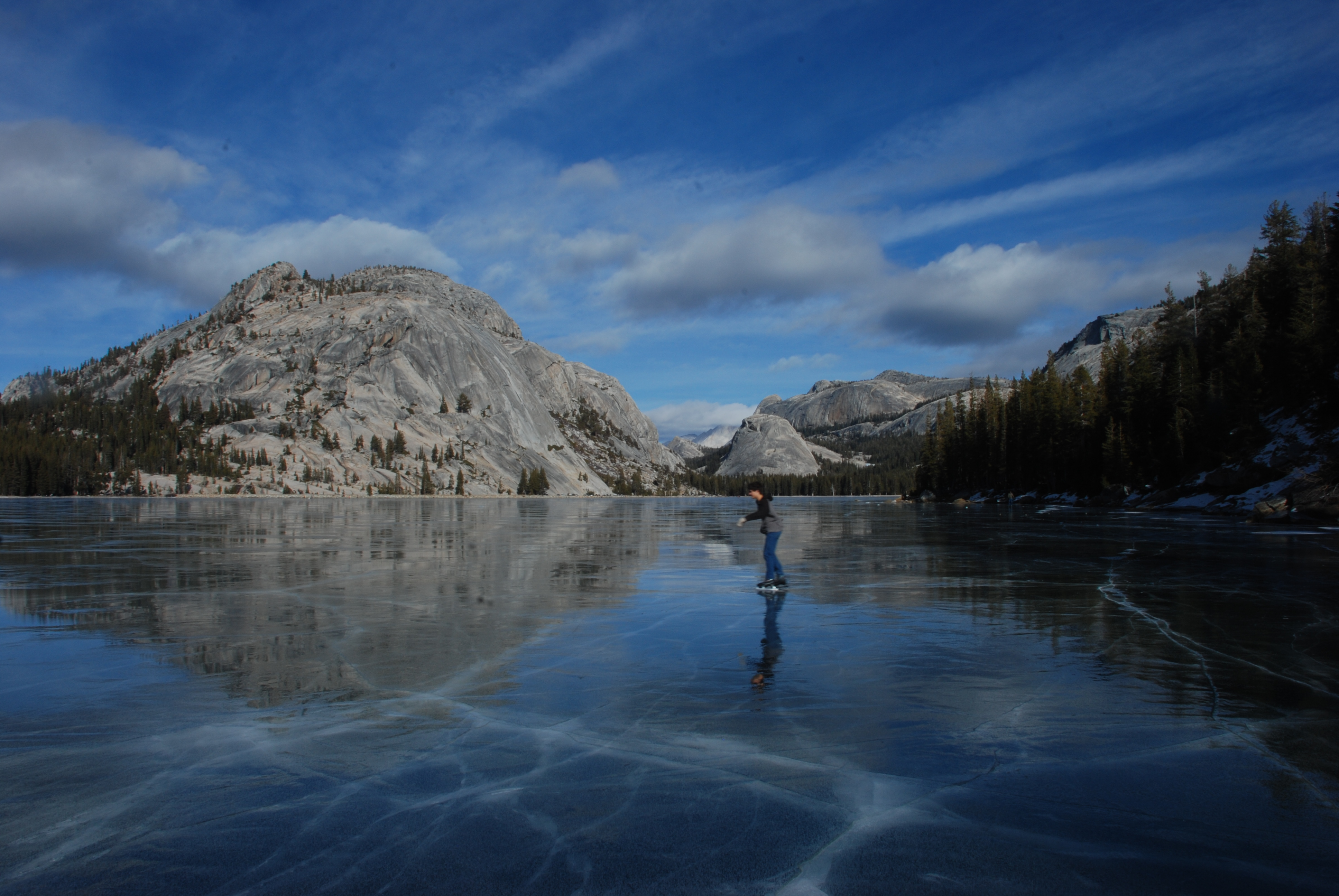Image of an ice skater on Tenaya Lake