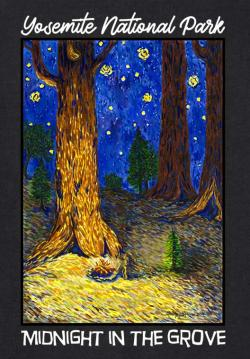 "An image of Shirley's ""Midnight in the Grove"" painting"